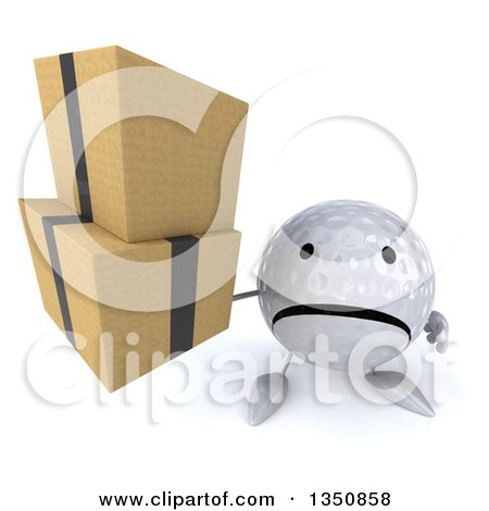 Clipart of a 3d Unhappy Golf Ball Character Holding up Boxes - Royalty Free Illustration by Julos