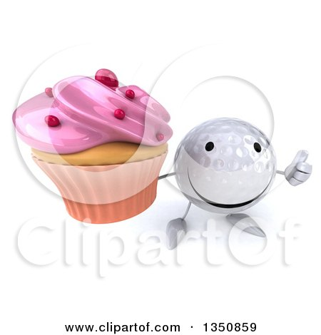 Clipart of a 3d Happy Golf Ball Character Holding up a Thumb and a Pink Frosted Cupcake - Royalty Free Illustration by Julos