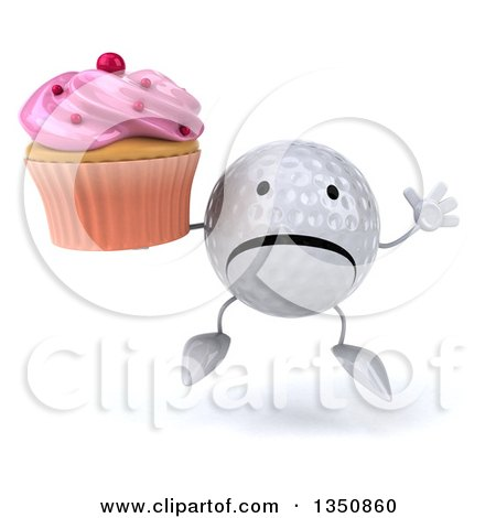 Clipart of a 3d Unhappy Golf Ball Character Jumping and Holding a Pink Frosted Cupcake - Royalty Free Illustration by Julos