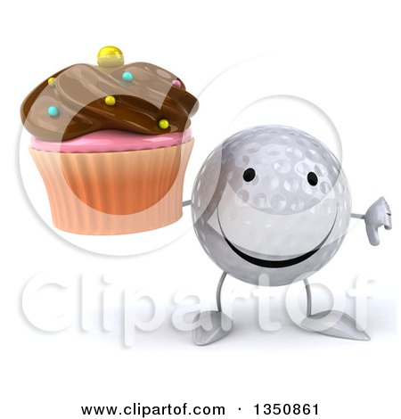 Clipart of a 3d Golf Ball Character Giving a Thumb down and Holding a Chocolate Frosted Cupcake - Royalty Free Illustration by Julos