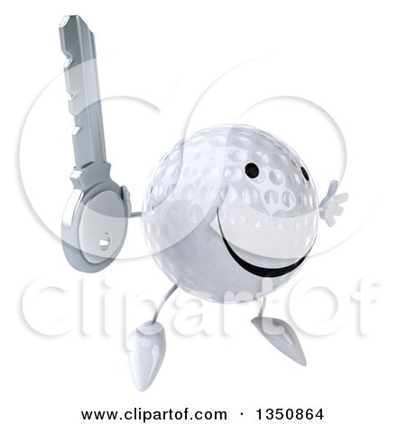 Clipart of a 3d Happy Golf Ball Character Holding a Key and Jumping - Royalty Free Illustration by Julos