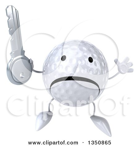Clipart of a 3d Unhappy Golf Ball Character Holding a Key and Jumping - Royalty Free Illustration by Julos