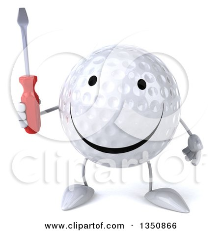 Clipart of a 3d Happy Golf Ball Character Holding a Screwdriver - Royalty Free Illustration by Julos