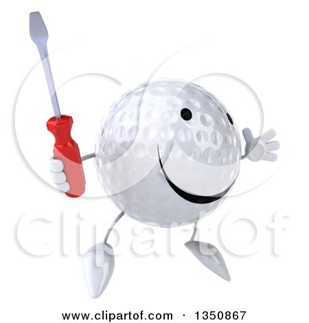 Clipart of a 3d Happy Golf Ball Character Holding a Screwdriver and Jumping - Royalty Free Illustration by Julos