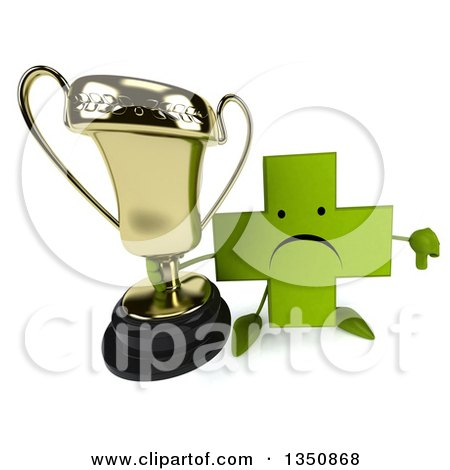 Clipart of a 3d Unhappy Green Naturopathic Cross Character Holding up a Trophy and Thumb down - Royalty Free Illustration by Julos
