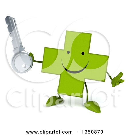Clipart of a 3d Happy Green Naturopathic Cross Character Shrugging and Holding a Key - Royalty Free Illustration by Julos
