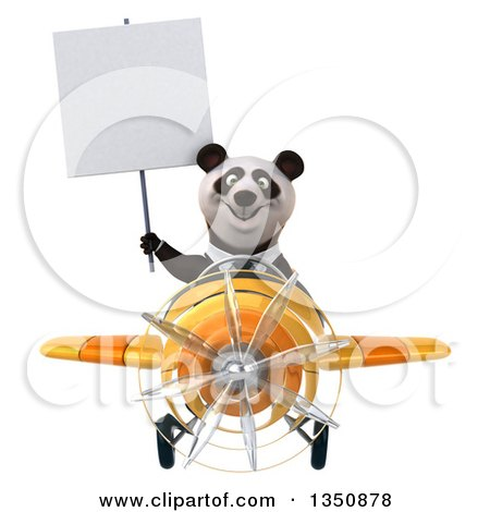 Clipart of a 3d Business Panda Aviator Pilot Holding a Blank Sign and Flying a Yellow Airplane - Royalty Free Illustration by Julos