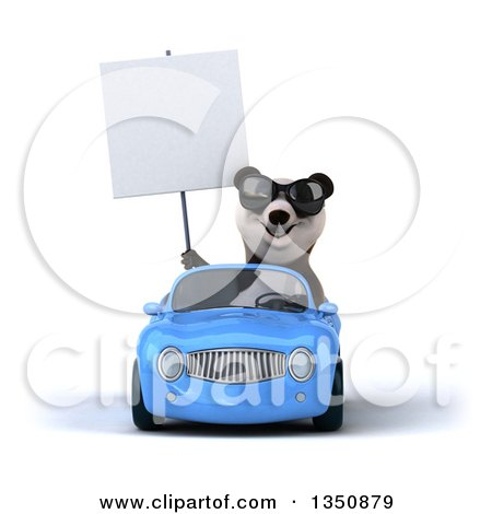 Clipart of a 3d Panda Wearing Sunglasses, Holding a Blank Sign and Driving a Blue Convertible Car - Royalty Free Illustration by Julos
