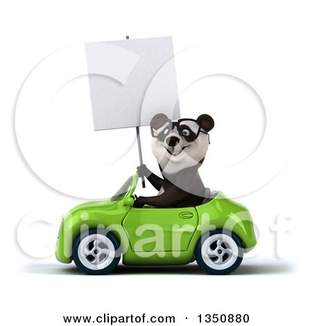 Clipart of a 3d Bespectacled Panda Holding a Blank Sign and Driving a Green Convertible Car to the Left - Royalty Free Illustration by Julos
