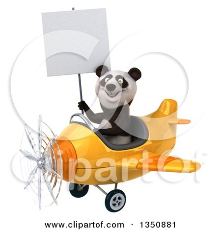Clipart of a 3d Panda Aviator Pilot Holding a Blank Sign and Flying a Yellow Airplane to the Left - Royalty Free Illustration by Julos