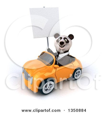Clipart of a 3d Business Panda Holding a Blank Sign and Driving an Orange Convertible Car to the Left - Royalty Free Illustration by Julos