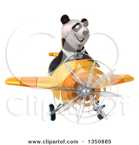 Clipart of a 3d Business Panda Aviator Pilot Flying a Yellow Airplane - Royalty Free Illustration by Julos