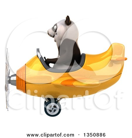 Clipart of a 3d Panda Aviator Pilot Flying a Yellow Airplane to the Left - Royalty Free Illustration by Julos