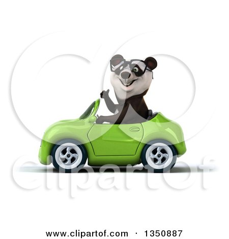 Clipart of a 3d Bespectacled Panda Giving a Thumb up and Driving a Green Convertible Car to the Left - Royalty Free Illustration by Julos