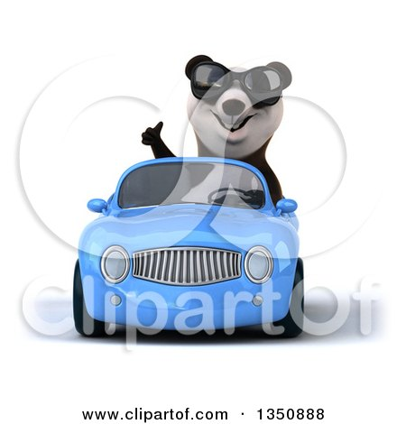 Clipart of a 3d Panda Wearing Sunglasses, Giving a Thumb up and Driving a Blue Convertible Car - Royalty Free Illustration by Julos