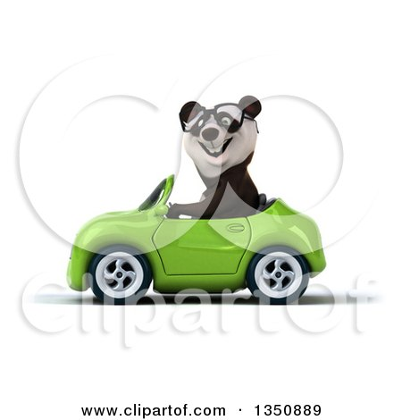 Clipart of a 3d Bespectacled Panda Driving a Green Convertible Car to the Left - Royalty Free Illustration by Julos
