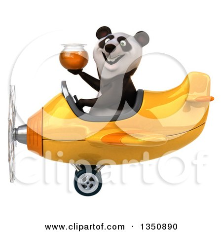 Clipart of a 3d Panda Aviator Pilot Holding a Honey Jar and Flying a Yellow Airplane to the Left - Royalty Free Illustration by Julos