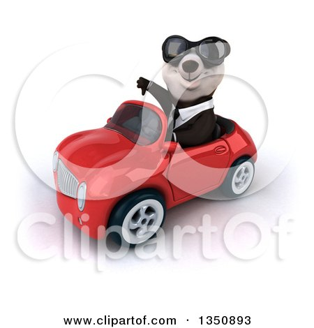 Clipart of a 3d Business Panda Wearing Sunglasses, Giving a Thumb down and Driving a Red Convertible Car to the Left - Royalty Free Illustration by Julos