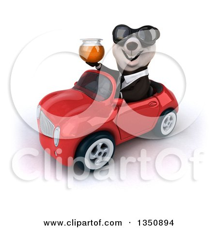 Clipart of a 3d Business Panda Wearing Sunglasses, Holding a Honey Jar and Driving a Red Convertible Car to the Left - Royalty Free Illustration by Julos