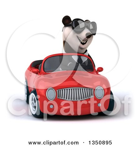 Clipart of a 3d Business Panda Wearing Sunglasses and Driving a Red Convertible Car - Royalty Free Illustration by Julos