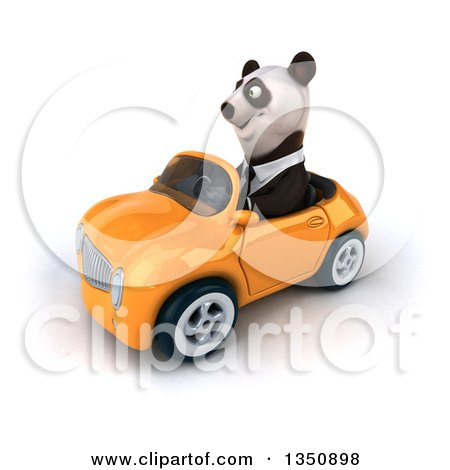 Clipart of a 3d Business Panda Driving an Orange Convertible Car to the Left - Royalty Free Illustration by Julos