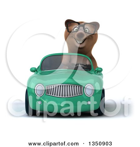 Clipart of a 3d Bespectacled Brown Bear Driving a Green Convertible Car - Royalty Free Illustration by Julos