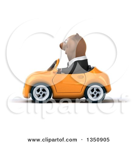 Clipart of a 3d Brown Business Bear Driving an Orange Convertible Car to the Left - Royalty Free Illustration by Julos