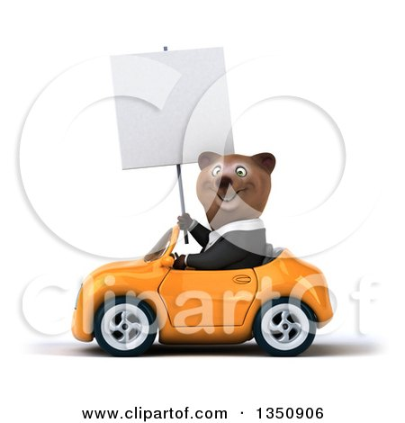 Clipart of a 3d Brown Business Bear Holding a Blank Sign and Driving an Orange Convertible Car to the Left - Royalty Free Illustration by Julos