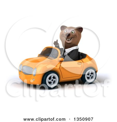 Clipart of a 3d Brown Business Bear Giving a Thumb up and Driving an Orange Convertible Car to the Left - Royalty Free Illustration by Julos