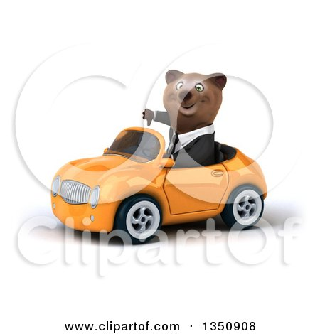 Clipart of a 3d Brown Business Bear Giving a Thumb down and Driving an Orange Convertible Car to the Left - Royalty Free Illustration by Julos