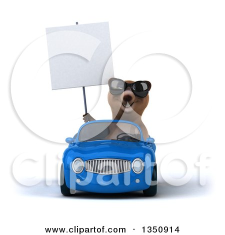 Clipart of a 3d Brown Bear Wearing Sunglasses, Holding a Blank Sign and Driving a Blue Convertible Car - Royalty Free Illustration by Julos