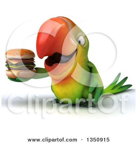Clipart of a 3d Green Macaw Parrot Holding a Double Cheeseburger - Royalty Free Illustration by Julos