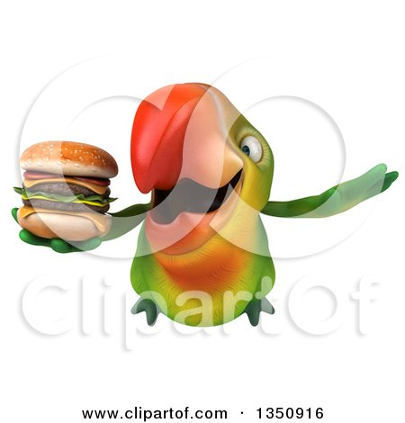 Clipart of a 3d Green Macaw Parrot Holding a Double Cheeseburger and Flying - Royalty Free Illustration by Julos