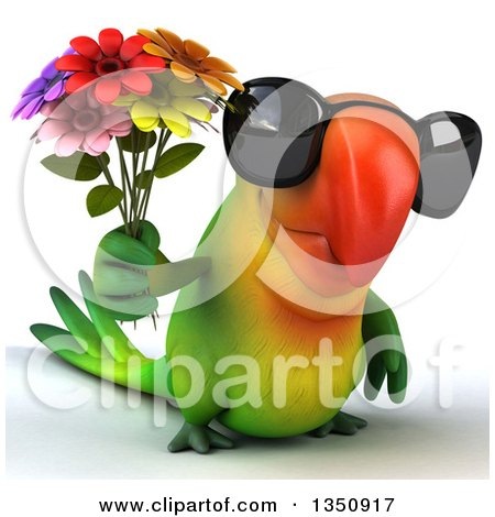 Clipart of a 3d Green Macaw Parrot Wearing Sunglasses and Holding a Flower Bouquet - Royalty Free Illustration by Julos