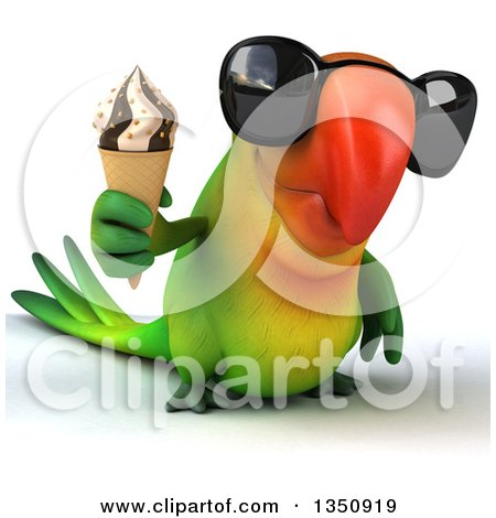 Clipart of a 3d Green Macaw Parrot Wearing Sunglasses and Holding a Waffle Ice Cream Cone - Royalty Free Illustration by Julos