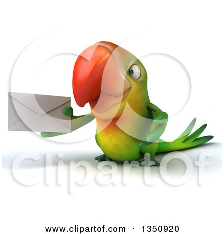 Clipart of a 3d Green Macaw Parrot Holding an Envelope - Royalty Free Illustration by Julos