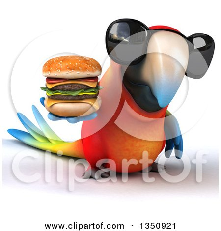 Clipart of a 3d Scarlet Macaw Parrot Wearing Sunglasses and Holding a Double Cheeseburger - Royalty Free Illustration by Julos