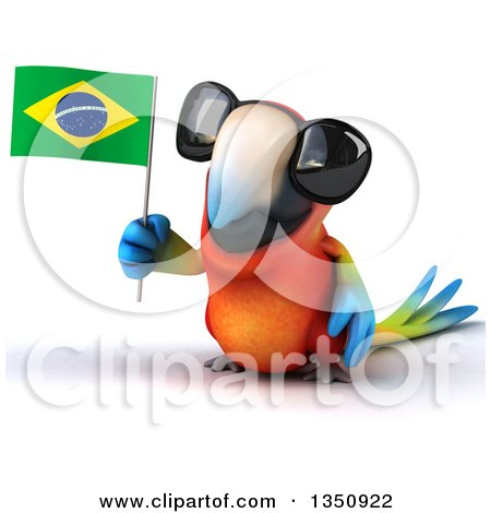 Clipart of a 3d Scarlet Macaw Parrot Wearing Sunglasses and Holding a Brazilian Flag - Royalty Free Illustration by Julos