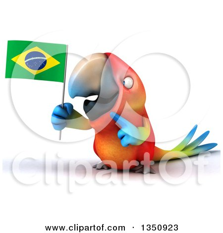Clipart of a 3d Scarlet Macaw Parrot Holding and Pointing to a Brazilian Flag - Royalty Free Illustration by Julos