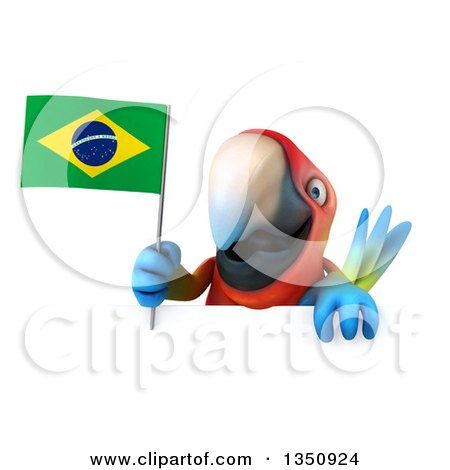 Clipart of a 3d Scarlet Macaw Parrot Holding a Brazilian Flag over a Sign - Royalty Free Illustration by Julos