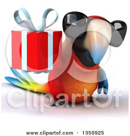 Clipart of a 3d Scarlet Macaw Parrot Wearing Sunglasses and Holding a Gift - Royalty Free Illustration by Julos