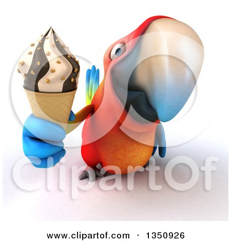 Clipart of a 3d Scarlet Macaw Parrot Holding up a Waffle Ice Cream Cone - Royalty Free Illustration by Julos