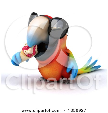 Clipart of a 3d Scarlet Macaw Parrot Wearing Sunglasses and Eating a Waffle Ice Cream Cone - Royalty Free Illustration by Julos