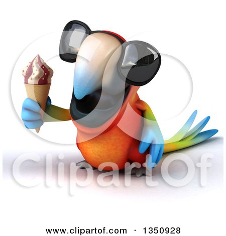 Clipart of a 3d Scarlet Macaw Parrot Wearing Sunglasses and Holding a Waffle Ice Cream Cone - Royalty Free Illustration by Julos