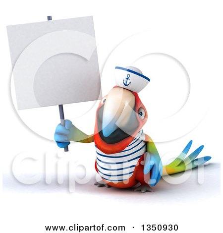Clipart of a 3d Scarlet Macaw Parrot Sailor Holding a Blank Sign - Royalty Free Illustration by Julos