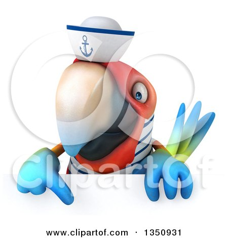 Clipart of a 3d Scarlet Macaw Parrot Sailor Pointing down over a Sign - Royalty Free Illustration by Julos