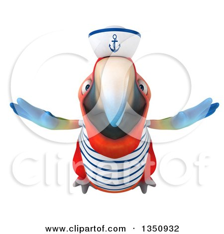 Clipart of a 3d Scarlet Macaw Parrot Sailor Flying - Royalty Free Illustration by Julos
