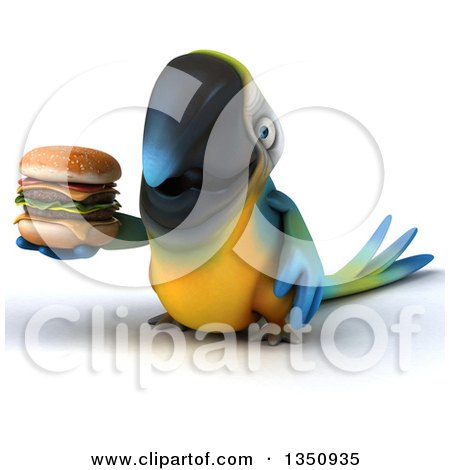 Clipart of a 3d Blue and Yellow Macaw Parrot Holding a Double Cheeseburger - Royalty Free Illustration by Julos