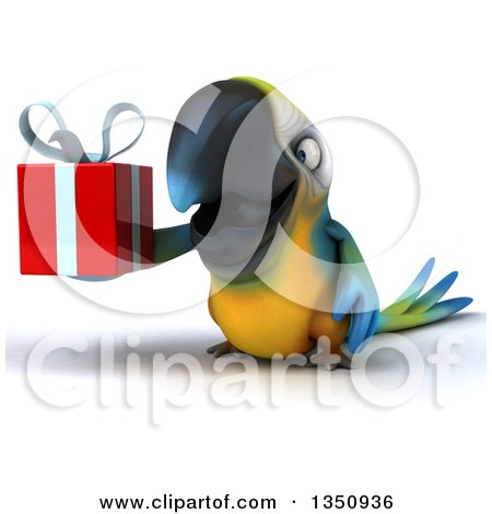 Clipart of a 3d Blue and Yellow Macaw Parrot Holding a Gift - Royalty Free Illustration by Julos
