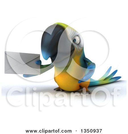 Clipart of a 3d Blue and Yellow Macaw Parrot Holding an Envelope - Royalty Free Illustration by Julos